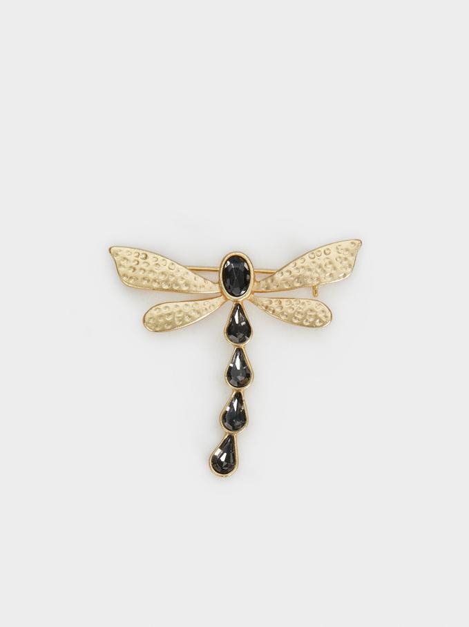 Dragonfly Brooch, Golden, hi-res