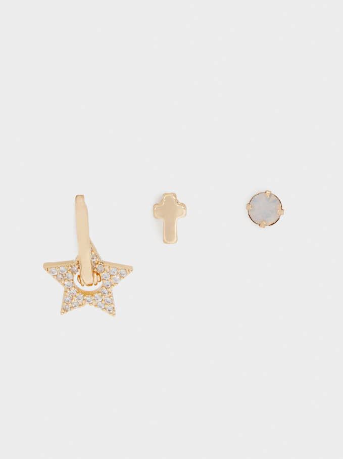 Set Of Earrings With Cross And Star, Golden, hi-res