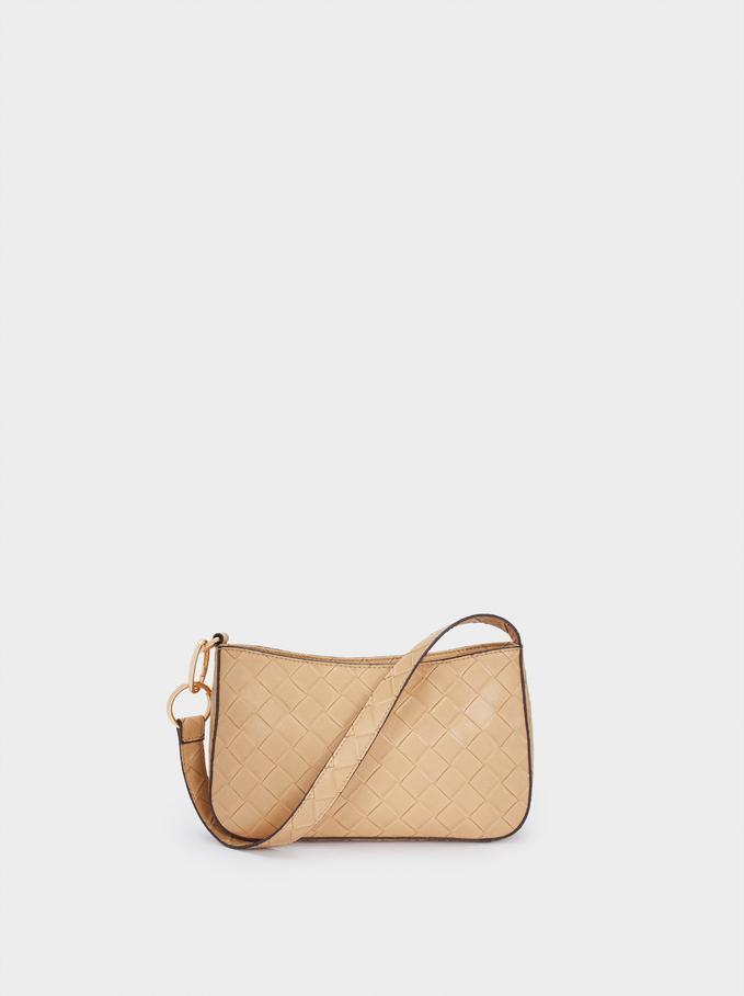 Braided Shoulder Bag, Camel, hi-res