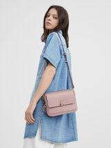 Shoulder Bag With Outer Pocket, Pink, hi-res