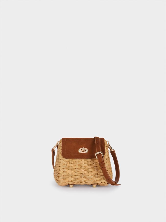 Raffia Textured Crossbody Bag, Camel, hi-res