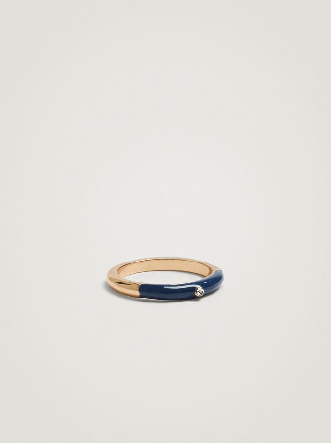 Enamel Ring, Navy, hi-res