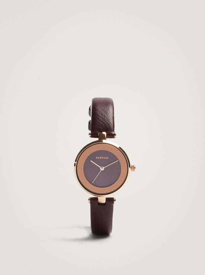Stainless Steel Watch With Contrast Face, Bordeaux, hi-res