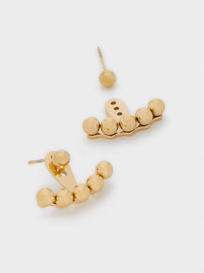 Short Gold Stainless Steel Earrings, Golden, hi-res