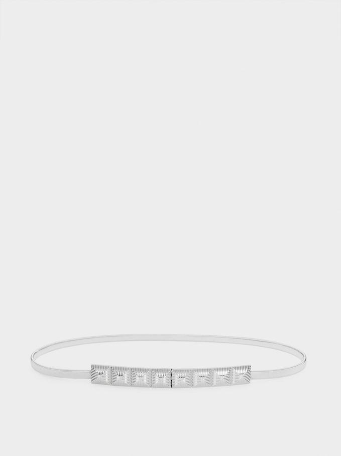 Metal Party Belt, Silver, hi-res