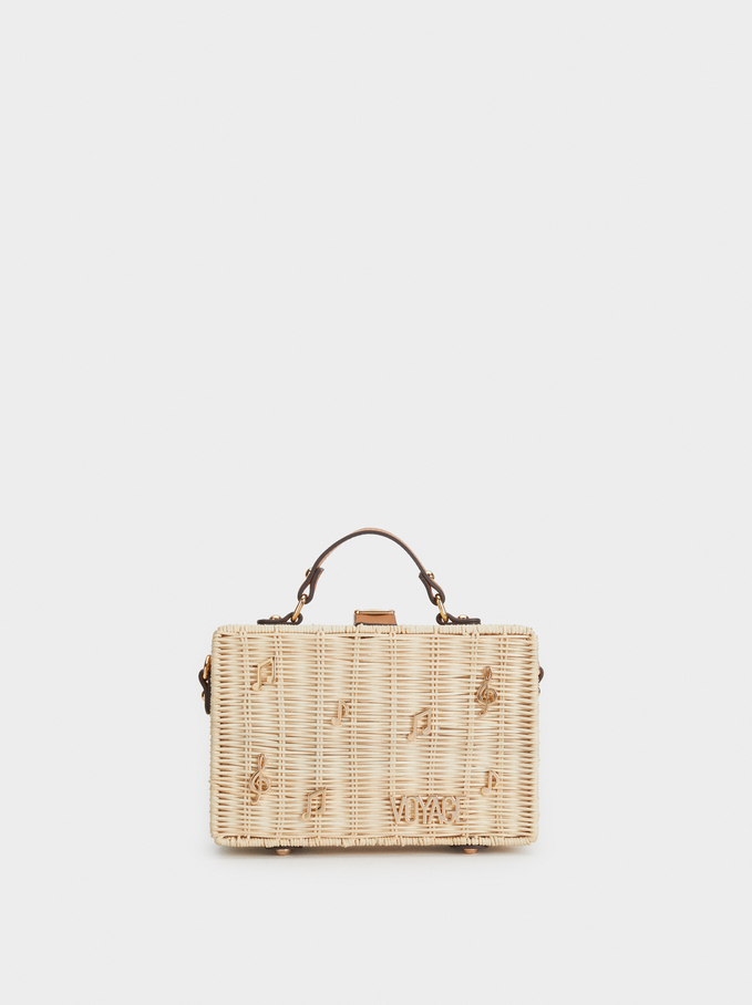 Raffia Effect Crossbody Bag, Beige, hi-res