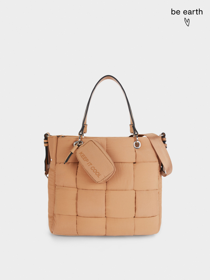Nylon Shopper Bag Made From Recycled Materials, Camel, hi-res