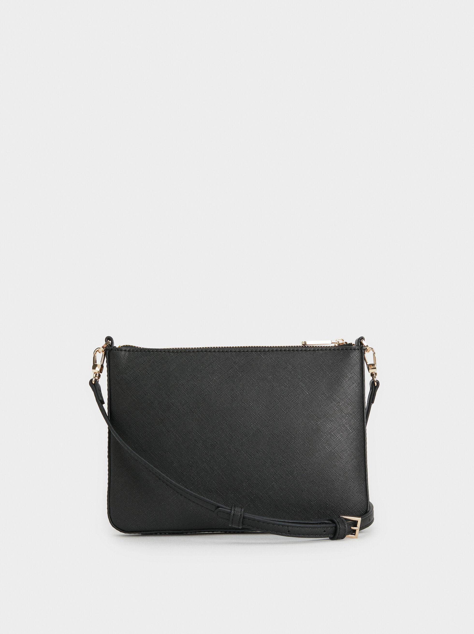 Plain Crossbody Bag, Black, hi-res