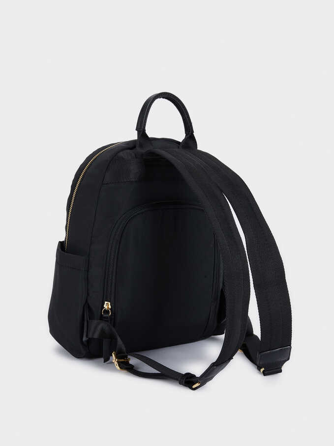 Nylon Backpack With Exterior Pockets, Black, hi-res