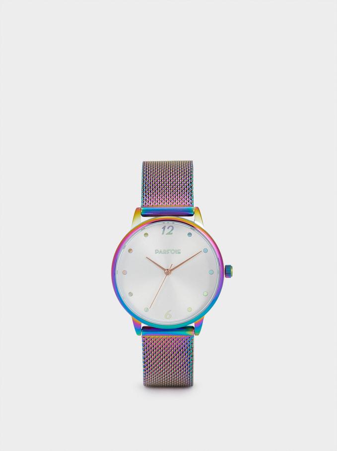Watch With Metallic Mesh Strap, Multicolor, hi-res