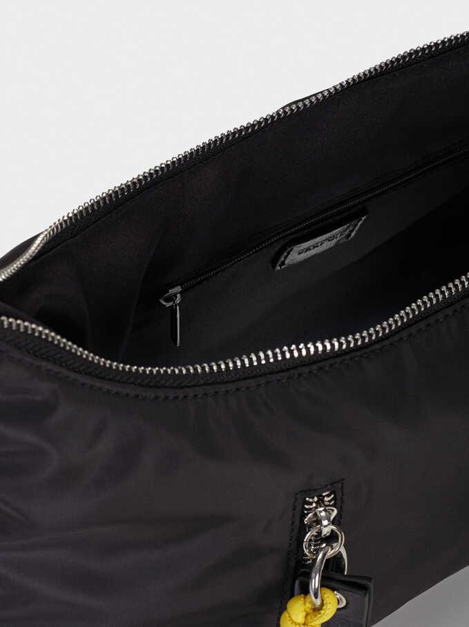 Nylon Shoulder Bag, Black, hi-res