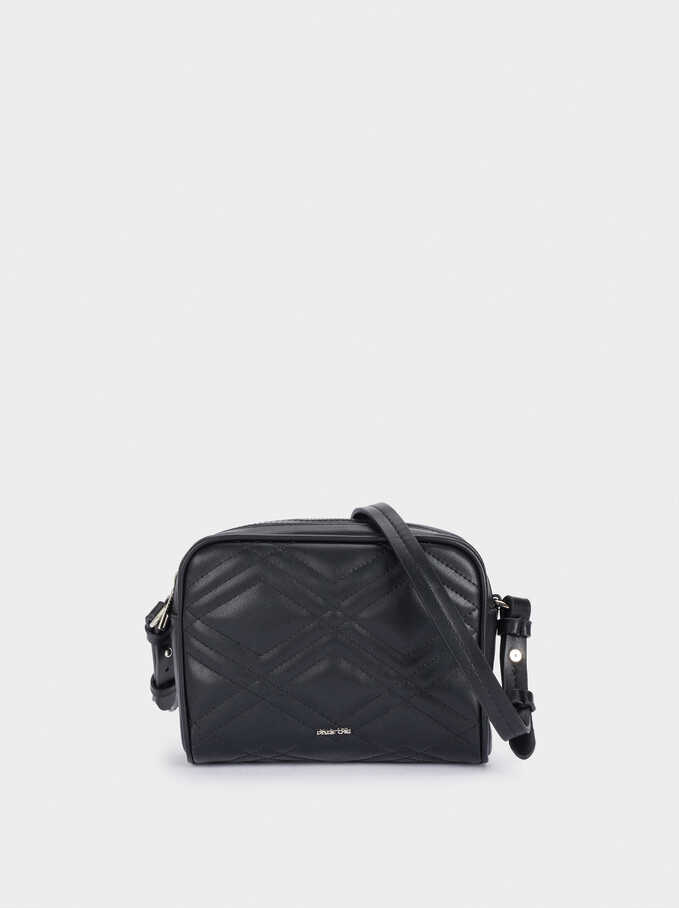 Quilted Crossbody Bag With Zip Closure, Black, hi-res