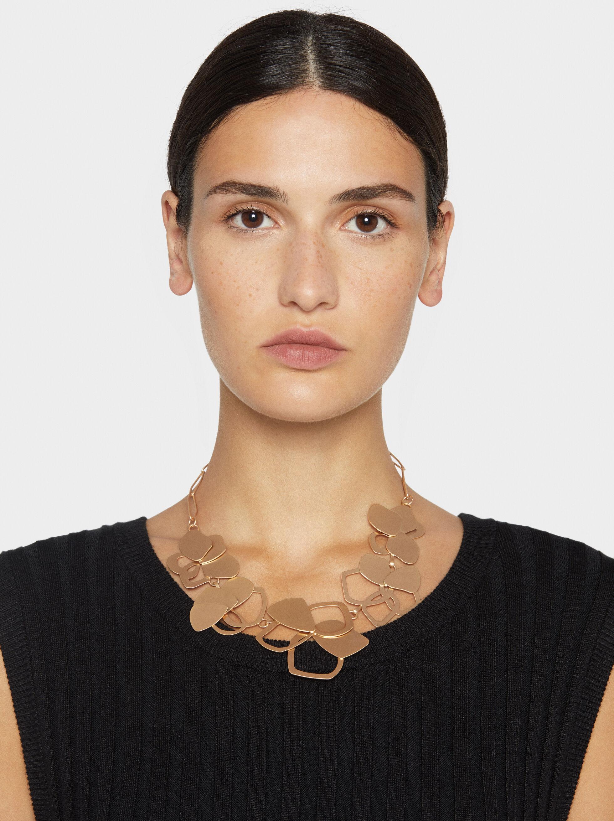 Exclusive Collection Short Flower Necklace, Golden, hi-res