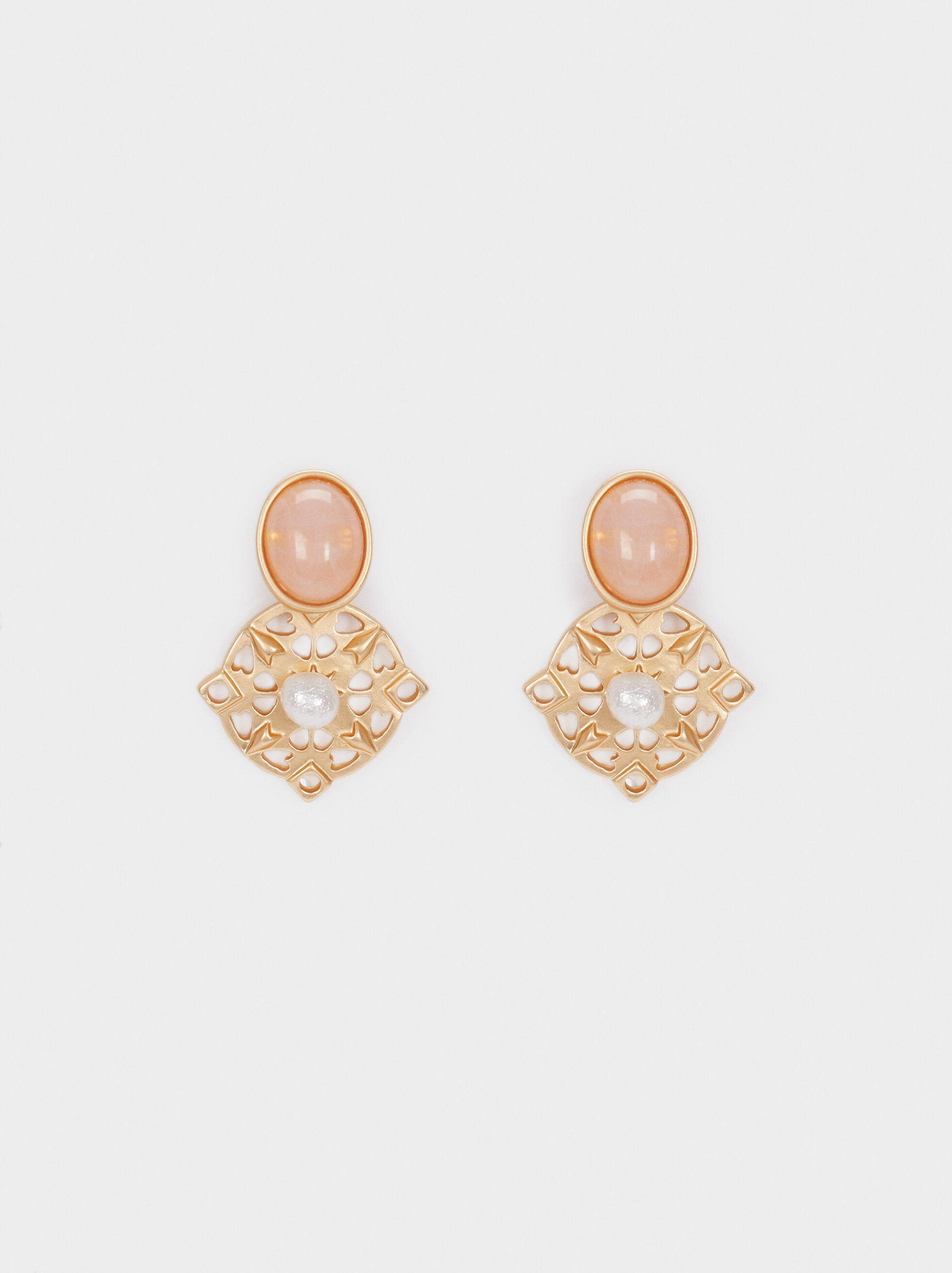 Small Gold Earrings , Multicolor, hi-res