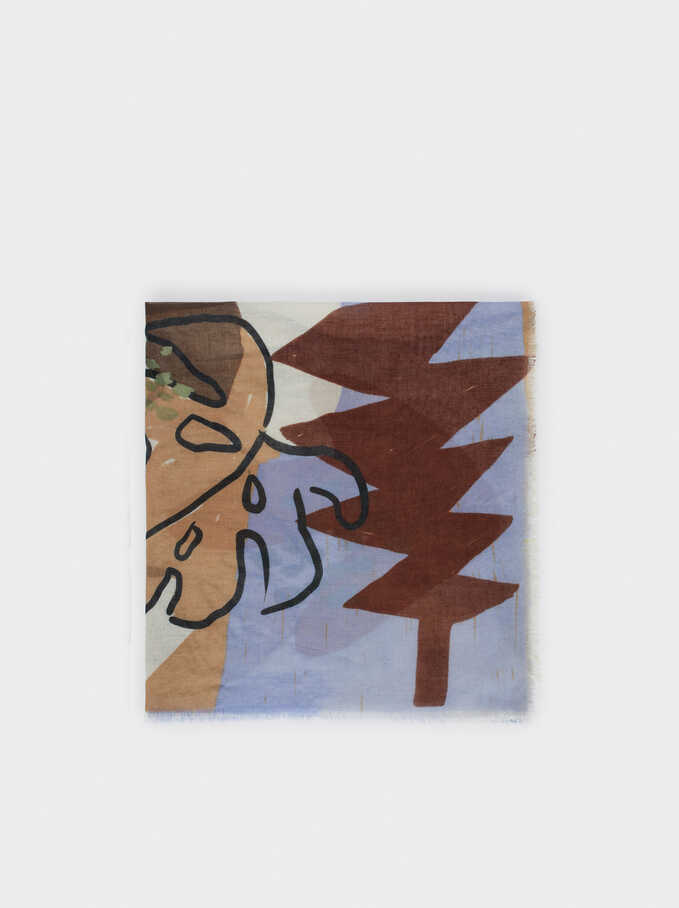 Leaf Print Scarf, Blue, hi-res