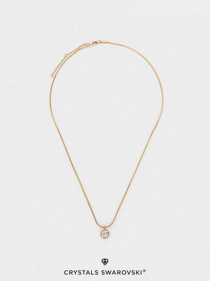 Stainless Steel Swarovski Crystals Necklace, Golden, hi-res