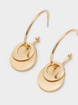 Medium Hoop Earrings With Pendant, Golden, hi-res
