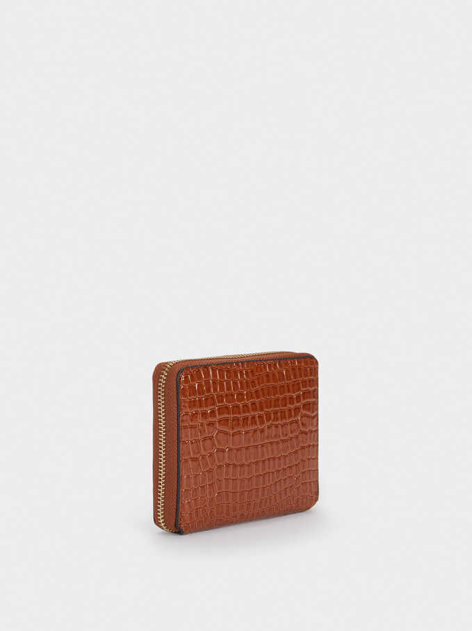 Embossed Compact Purse, Camel, hi-res