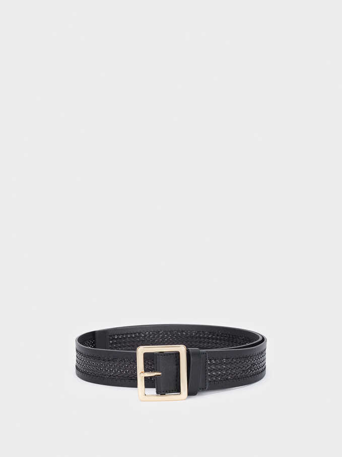 Braided Belt With Gold Buckle, Black, hi-res