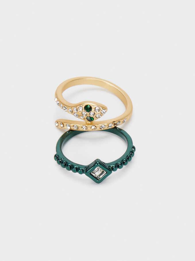 Conjunto De Anillos Serpiente Y Cristales Multicolor, Multicor, hi-res