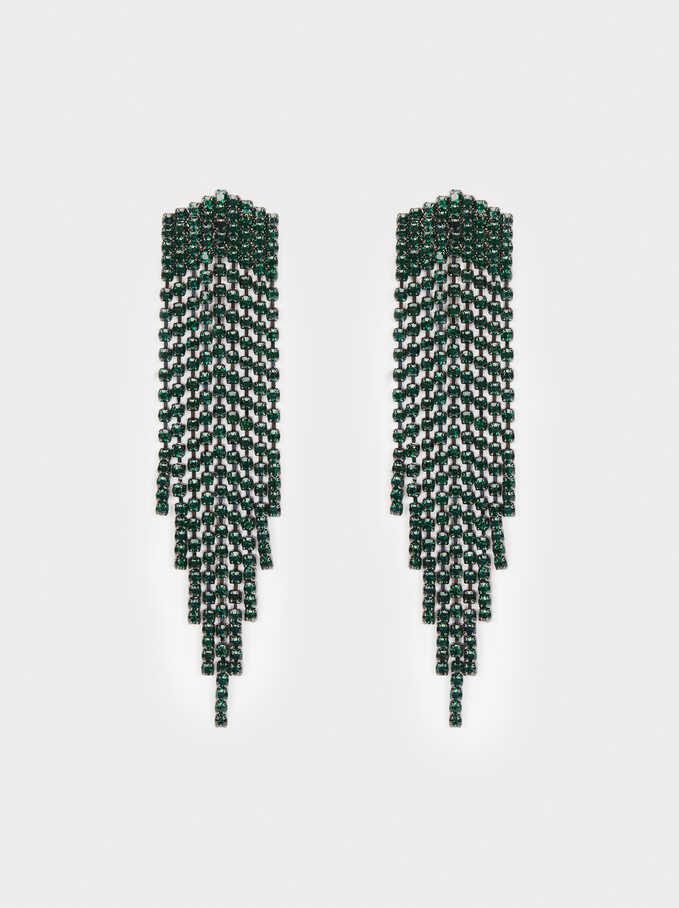 Pendientes Largos Cristales Multicolor, Verde, hi-res
