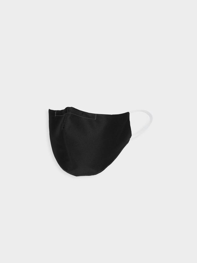 Black Reusable Face Mask, Black, hi-res