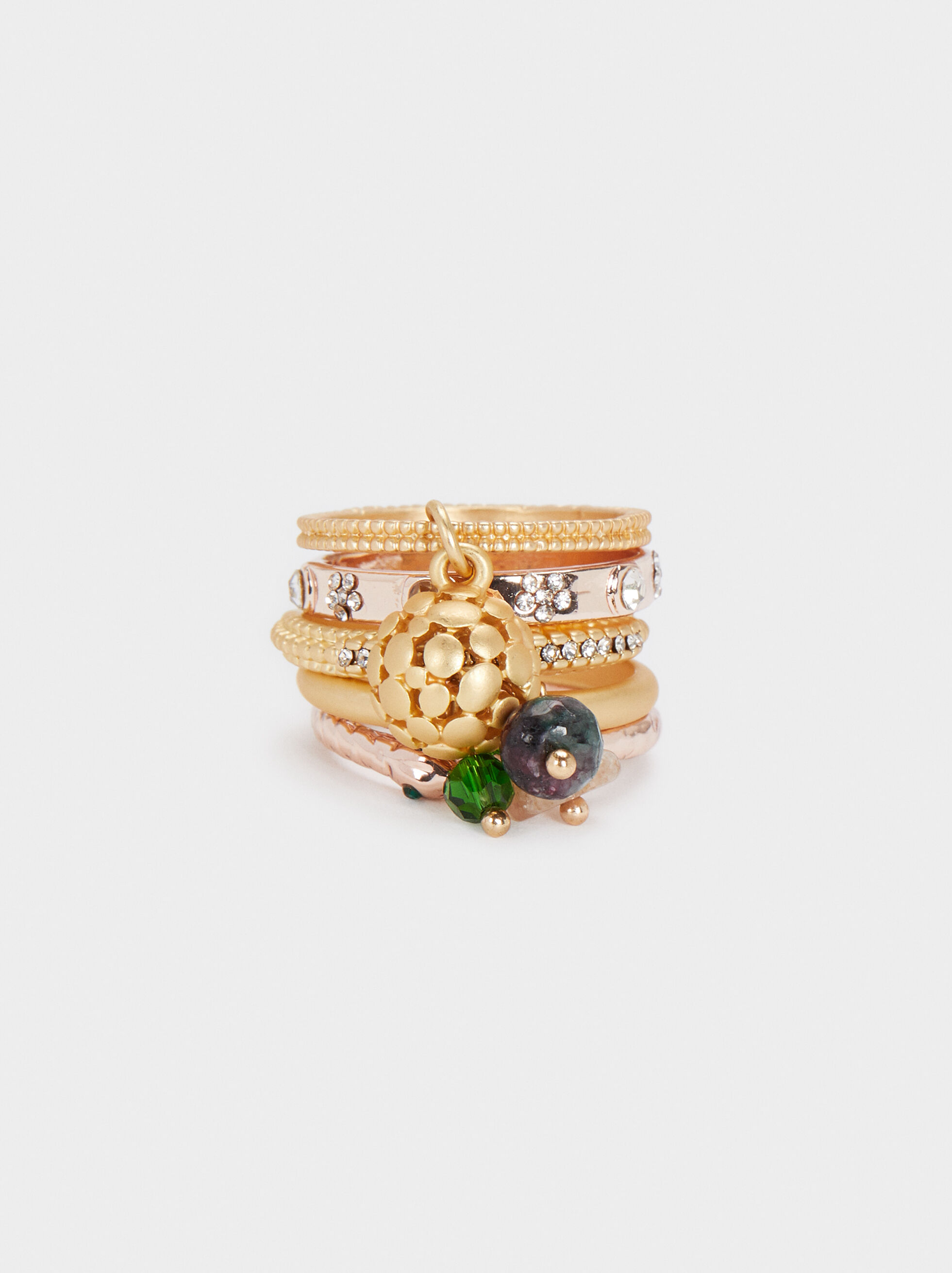 Set Of Rings With Rhinestones And Stones, Golden, hi-res