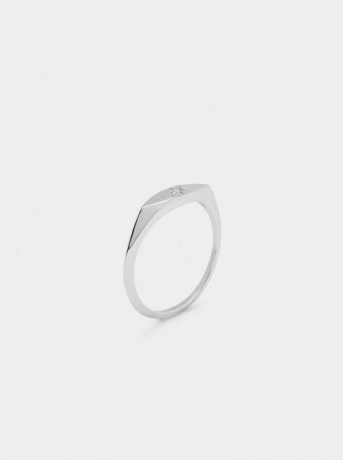 925 Silver Star Ring With Zirconia, Silver, hi-res