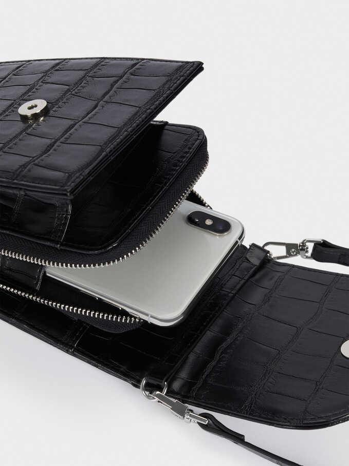 Embossed Animal Print Phone Case, Black, hi-res