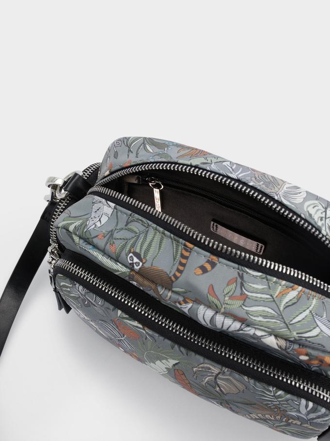Printed Nylon Crossbody Bag, Khaki, hi-res