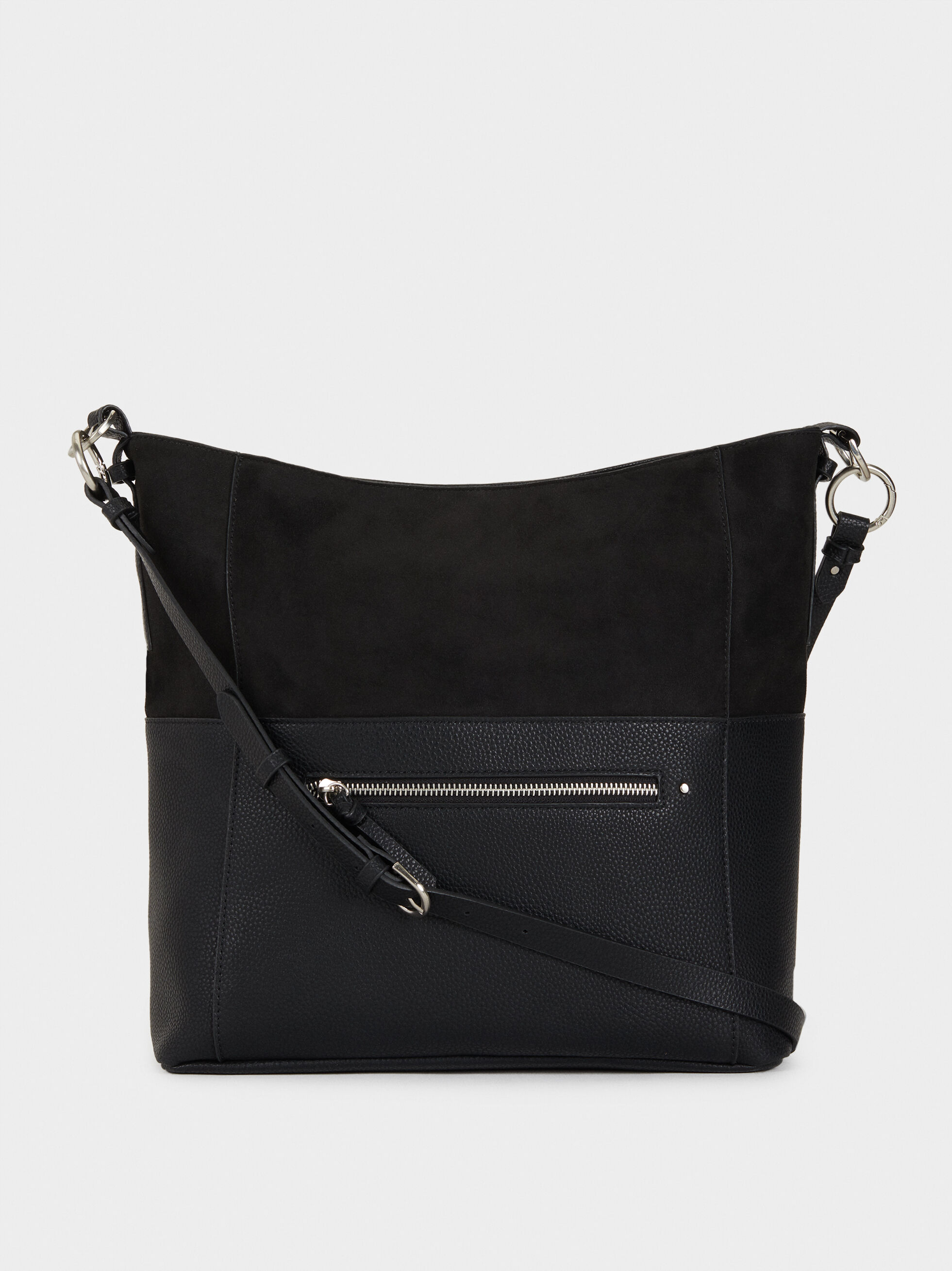 Faux Suede Bucket Bag, Black, hi-res