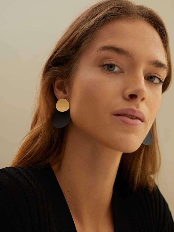 Geometric Earrings, Black, hi-res