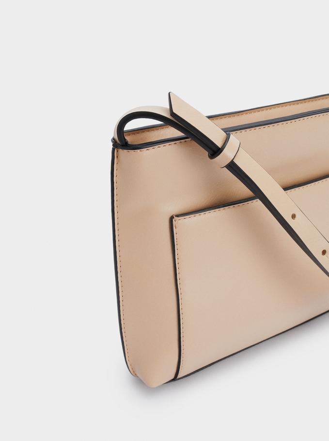 Shoulder Bag With Outer Pocket, Brown, hi-res