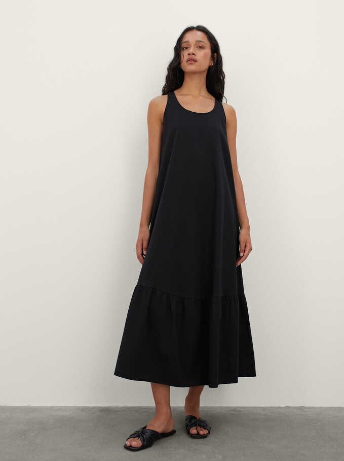 100% Cotton Long Dress, Black, hi-res