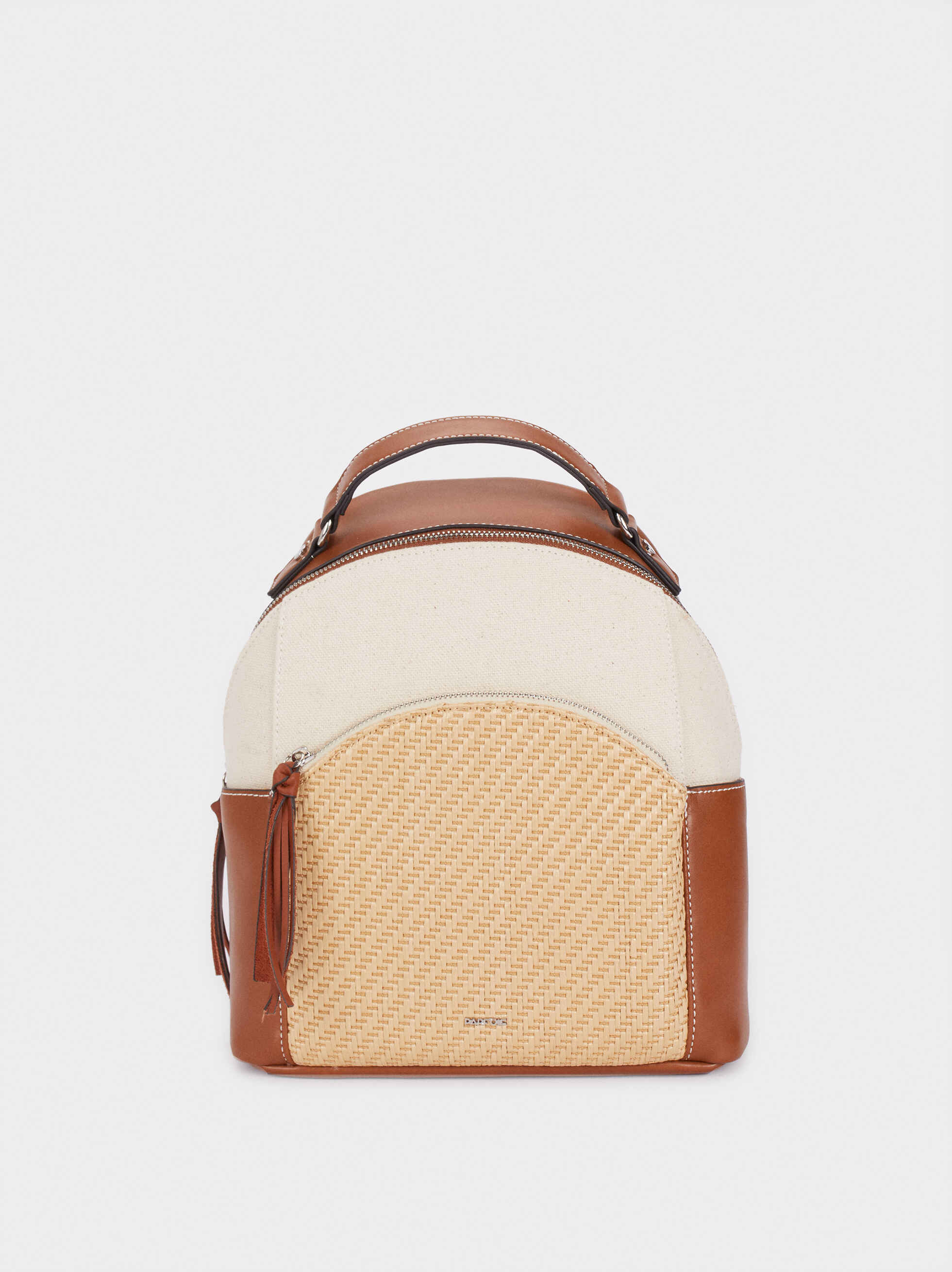 Backpack With Raffia Detailing, Camel, hi-res