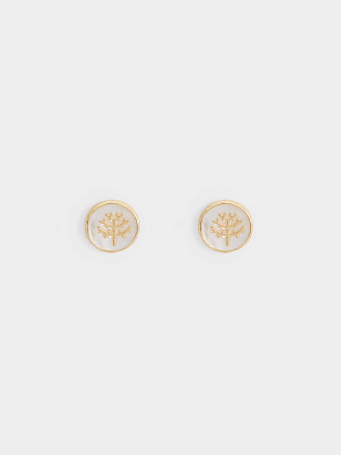 925 Silver Tree Studs, Beige, hi-res