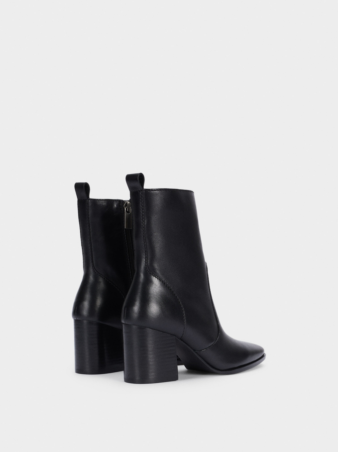 Leather Heeled Ankle Boots, Black, hi-res