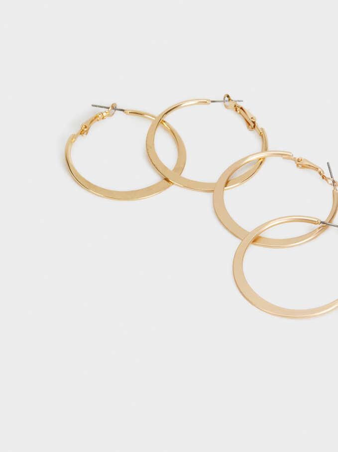 Set Of Gold Hoop Earrings, Golden, hi-res