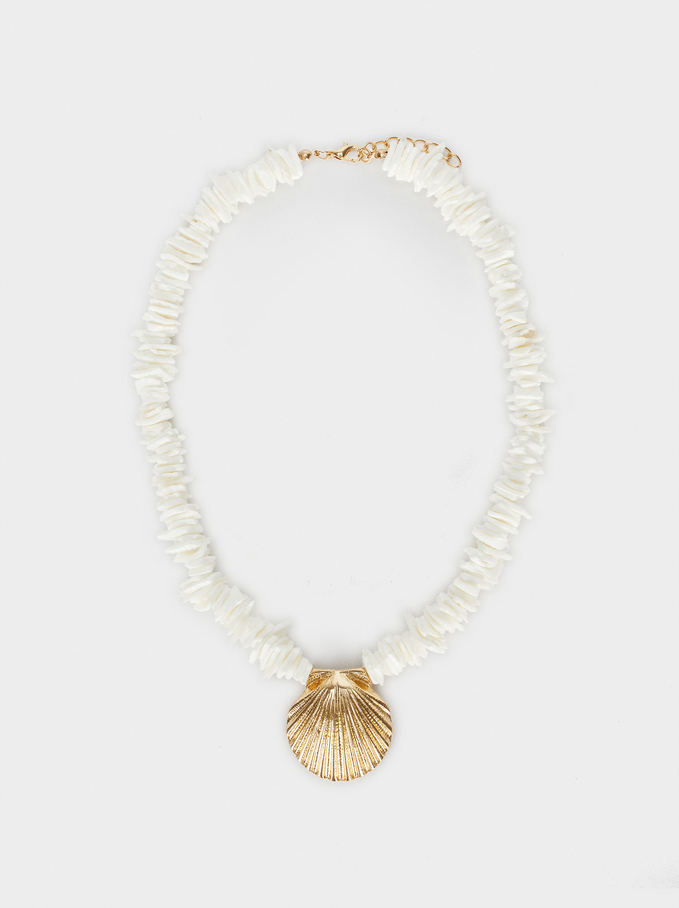 Short Necklace With Shell, Golden, hi-res