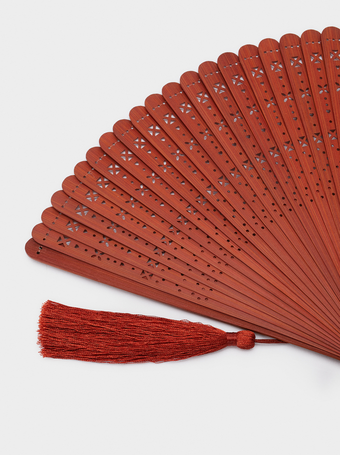 Perforated Fan With Tassel, Orange, hi-res