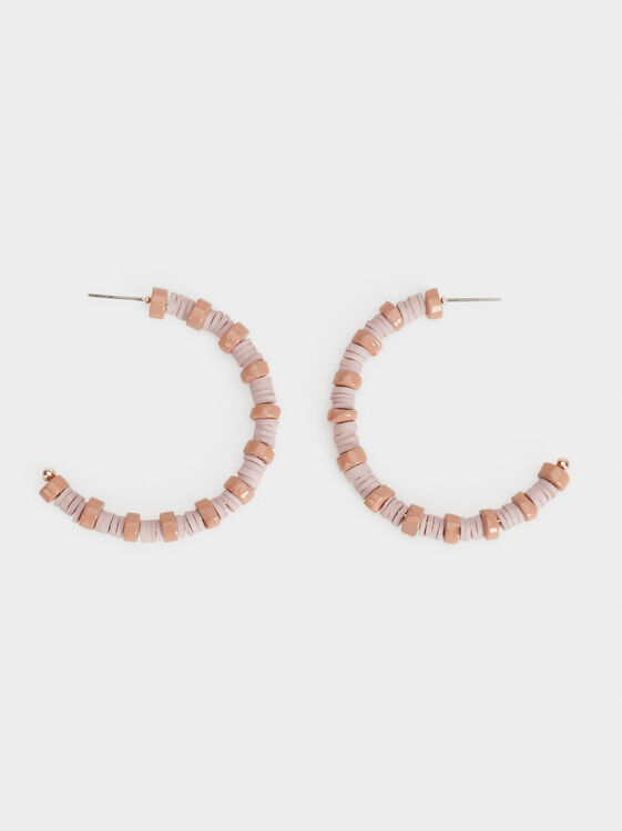 Land Medium Beaded Hoop Earrings, , hi-res