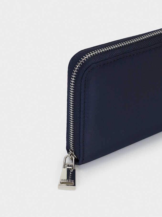 Plain Nylon Wallet, Navy, hi-res