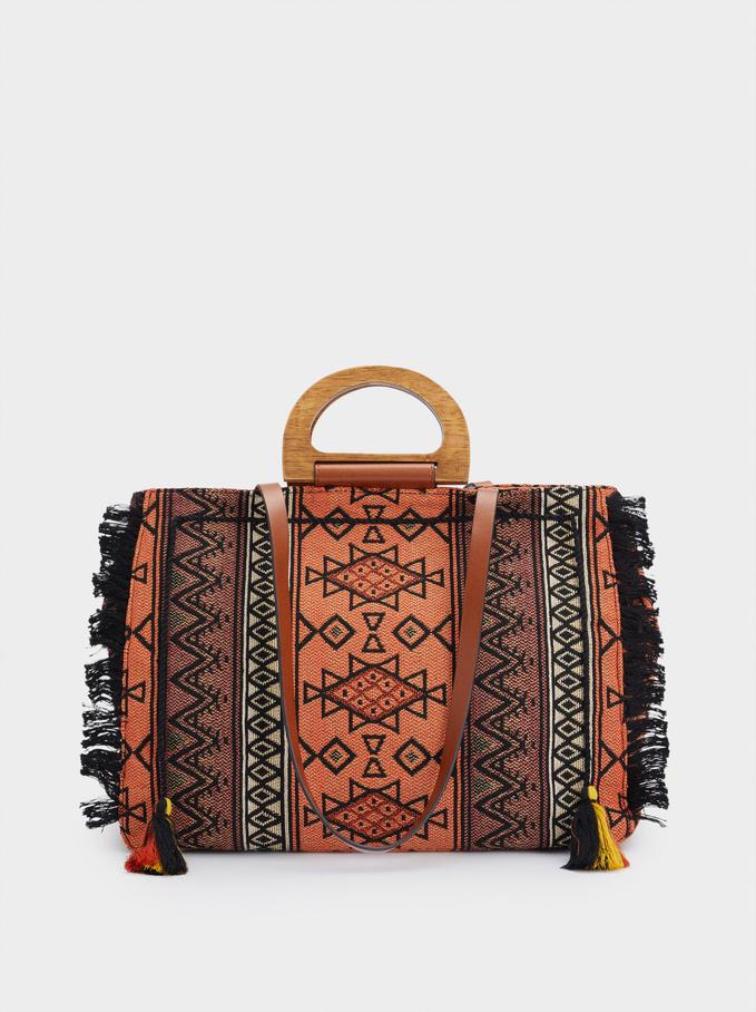 Printed Shopper Bag With Pendants, Orange, hi-res