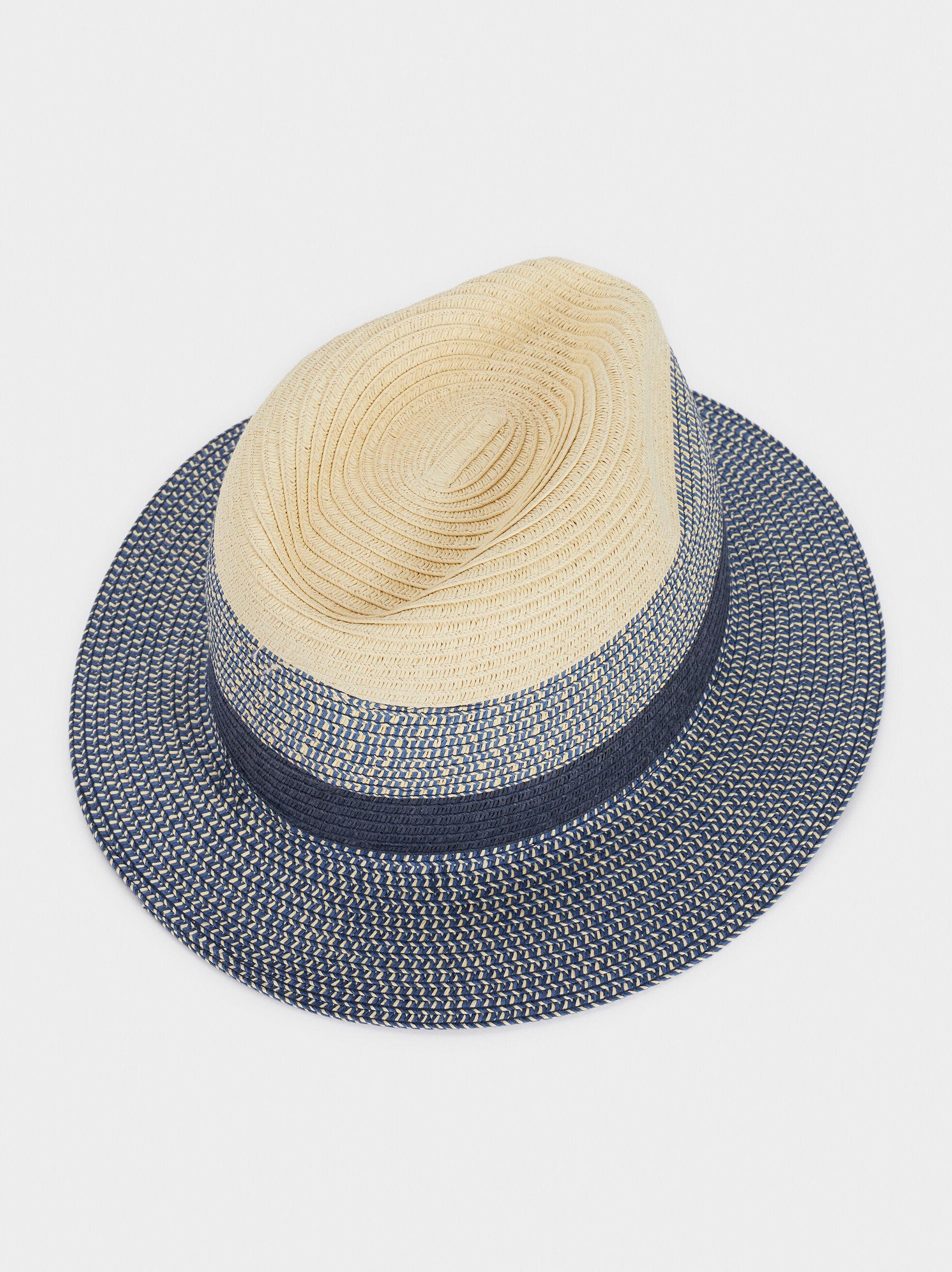 Raffia Textured Hat, Blue, hi-res