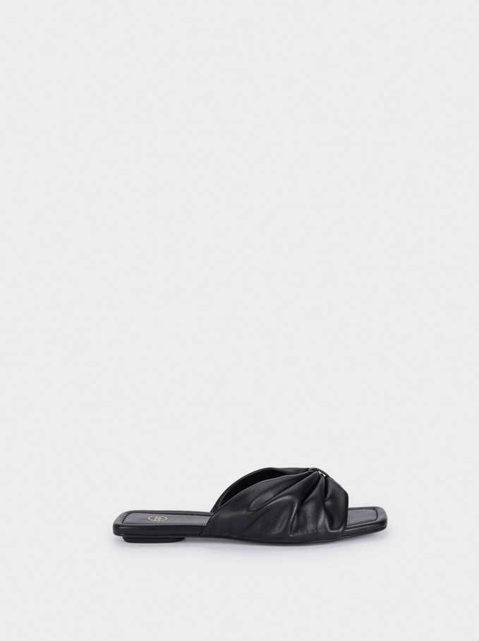 Padded Flat Sandals With Bow, Black, hi-res