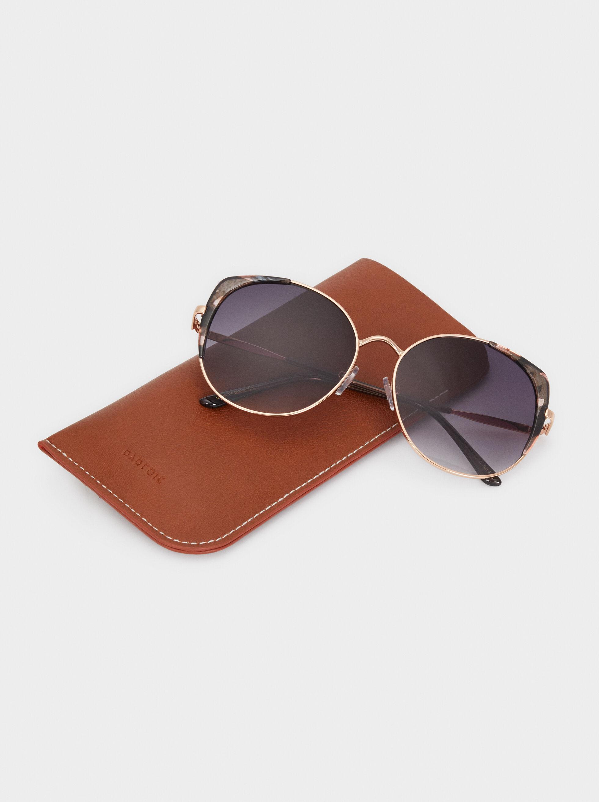 Round Metallic Sunglasses, Orange, hi-res