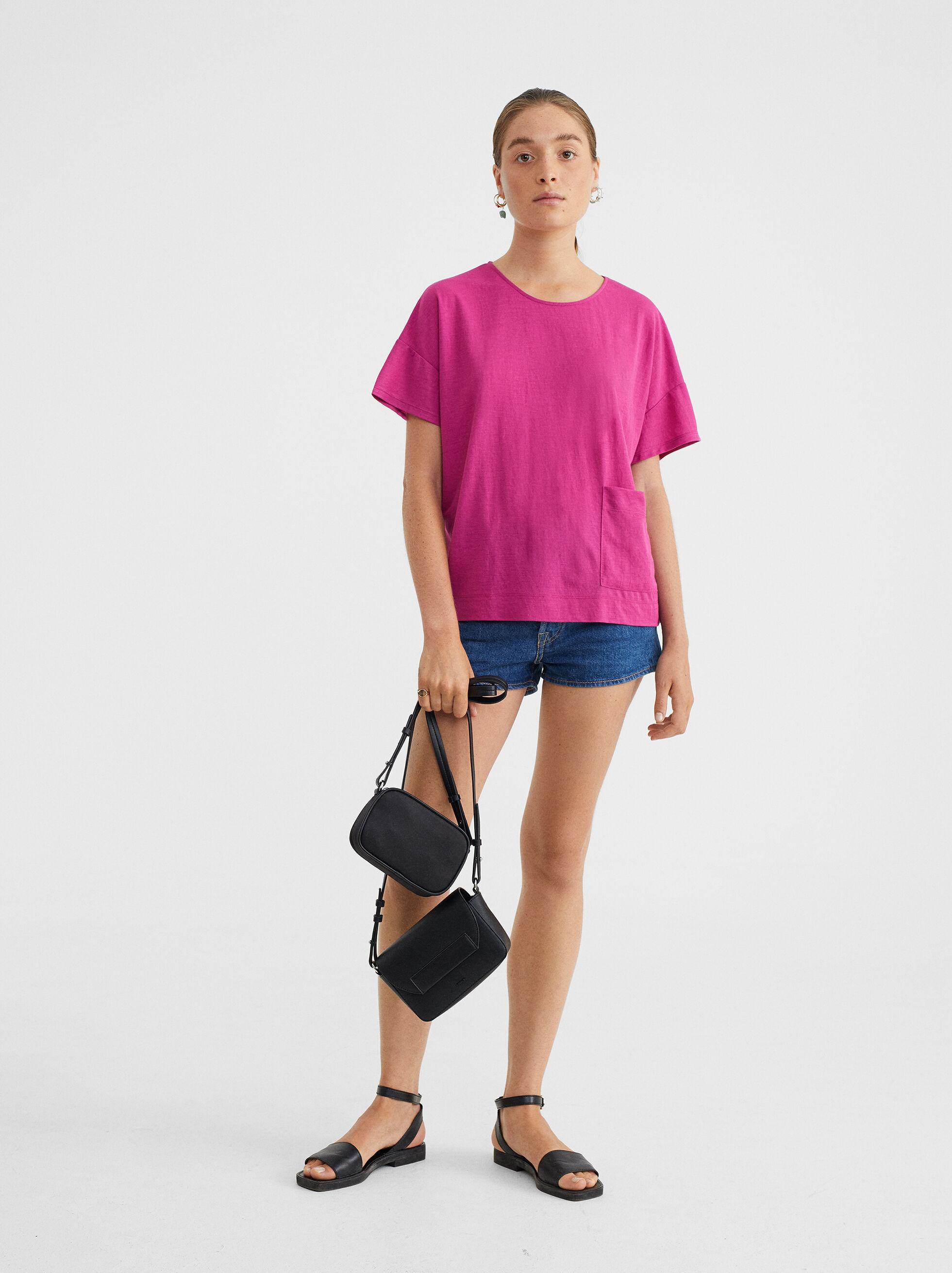 Basic Round-Neck T-Shirt, Pink, hi-res