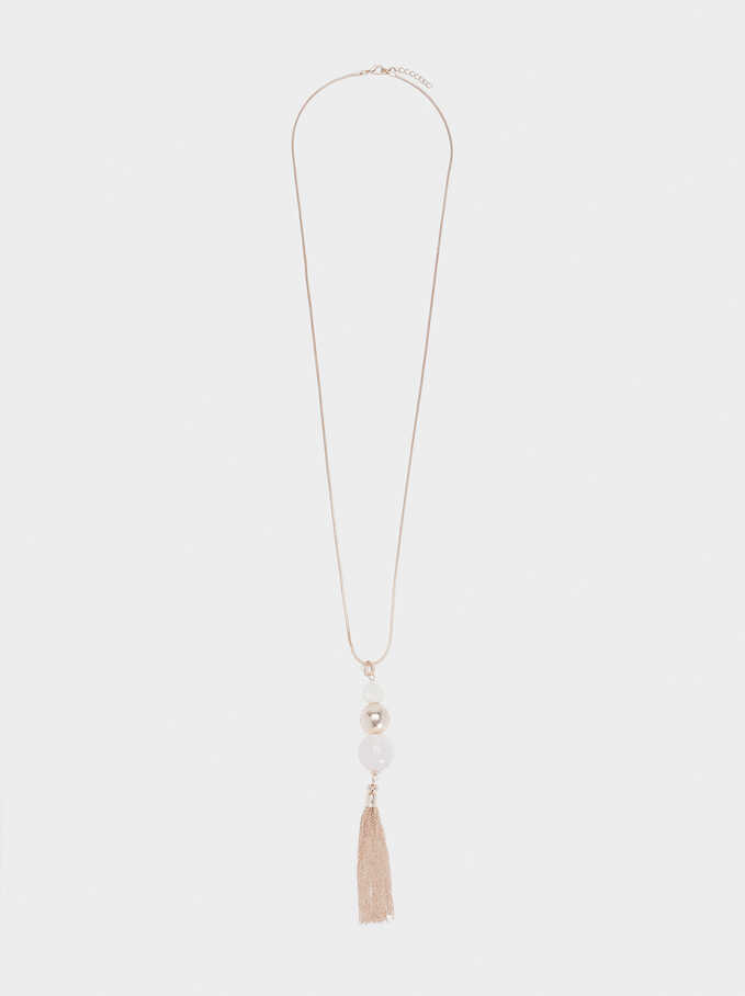 Necklace With Charms, Orange, hi-res
