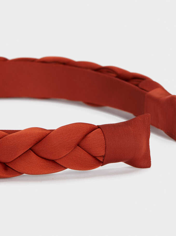 Braided Headband, Brick Red, hi-res