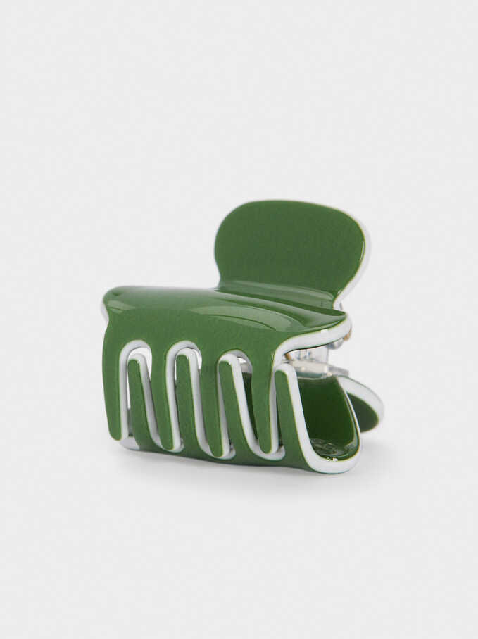 Plain Hair Claw, Green, hi-res